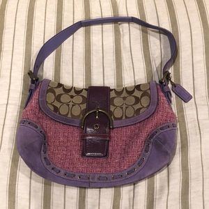 Coach Pink Boucle Signature Purse/Handbag